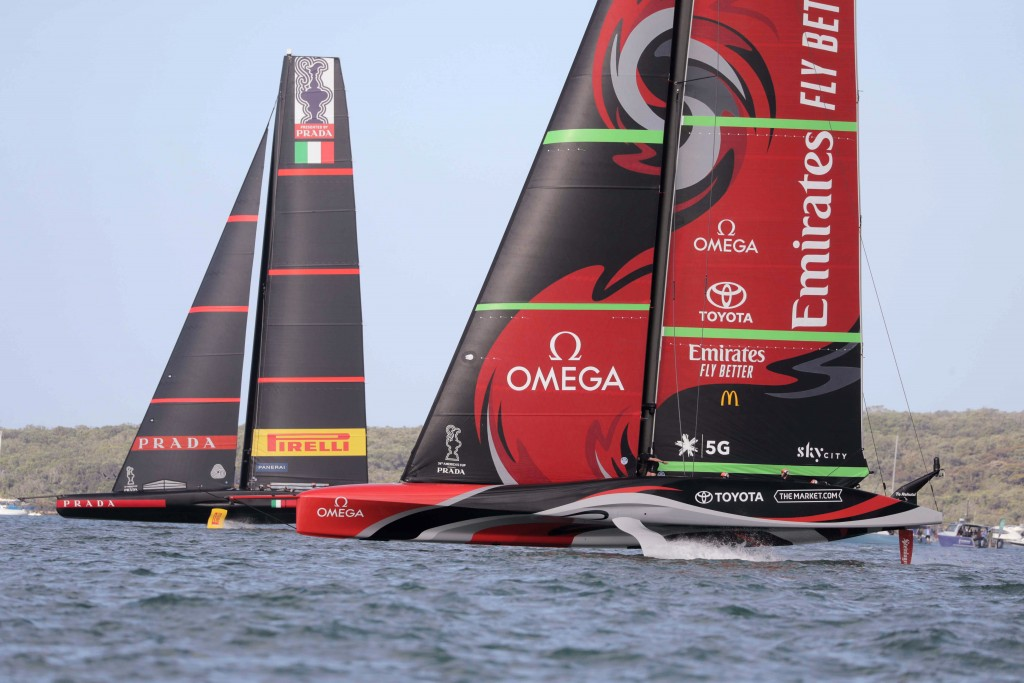 Team New Zealand yacht, right, and Italy's Luna Rossa compete in the America's Cup World Series on the Hauraki Gulf off Auckland, New Zealand, Saturda...
