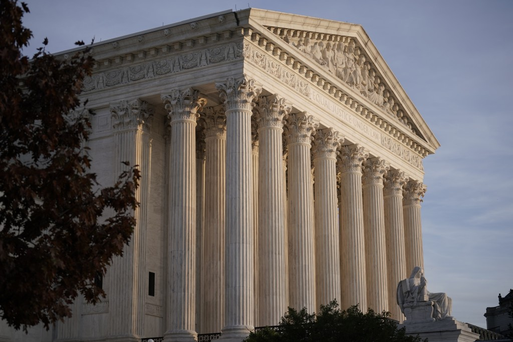In this Nov. 5, 2020 file photo, The Supreme Court is seen in Washington.  The Supreme Court has dismissed as premature a challenge to President Donal...