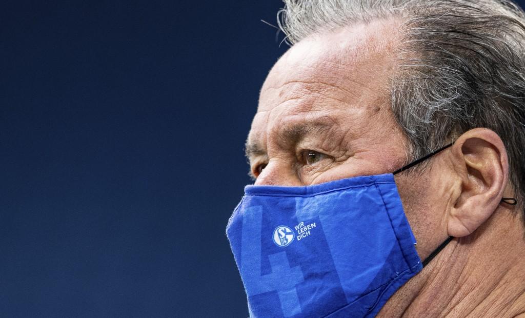 "The mouth and nose guard of Schalke's interim coach Huub Stevens reads: ""We live you"" prior the Bundesliga soccer match between FC Schalke 04 and Armi..."
