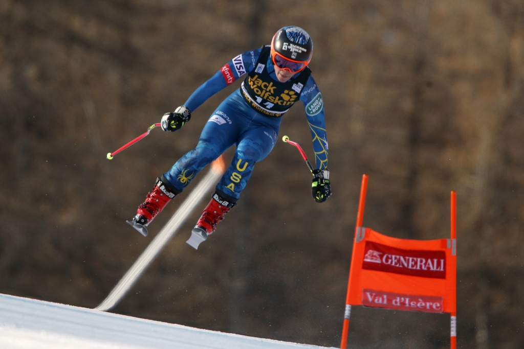 United States' Breezy Johnson speeds down the course during an alpine ski, women's World Cup downhill, in Val d'Isere, France, Saturday, Dec.19, 2020....