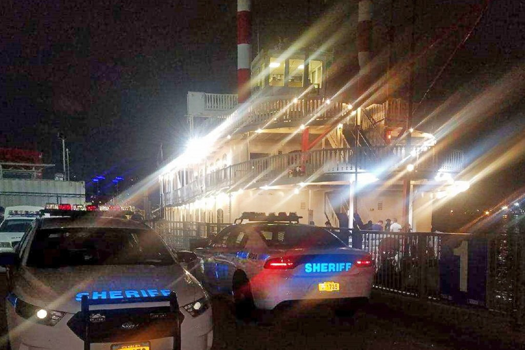 FILE — This Aug. 1, 2020 file photo, provided by the New York City Sheriff, shows two of the department's vehicles adjacent to the Liberty Belle boat ...