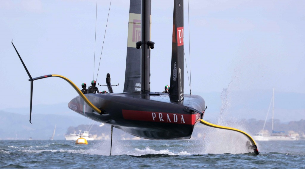 Italy's Luna Rossa yacht competes against Team New Zealand in the America's Cup World Series on the Hauraki Gulf off Auckland, New Zealand, Saturday, ...
