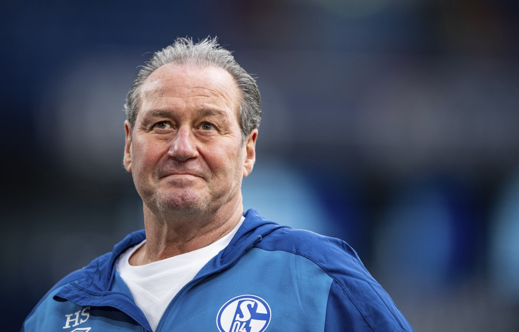 Schalke interims coach Huub Stevens watches prior the Bundesliga soccer match between FC Schalke 04 and Arminia Bielefeld in Gelsenkirchen, Germany, S...