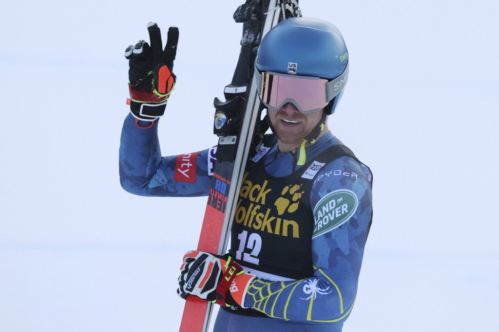 United States' Ryan Cochran Siegle reacts after completing an alpine ski men's World Cup downhill in Val Gardena, Italy, Saturday, Dec. 19, 2020. (AP ...