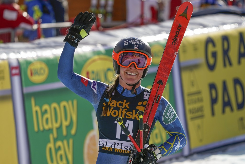 United States' Breezy Johnson gets to the finish area after completing an alpine ski, women's World Cup downhill, in Val d'Isere, France, Saturday, De...
