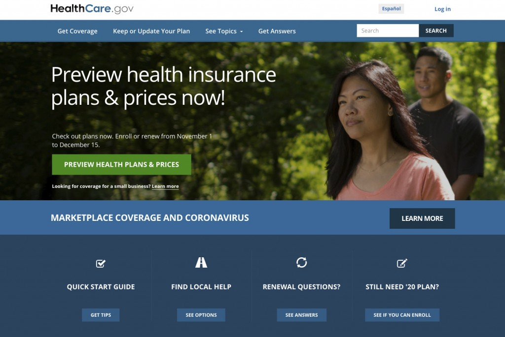 FILE - This image provided by U.S. Centers for Medicare & Medicaid Service shows the website for HealthCare.gov. Government figures out Friday, Dec. 1...