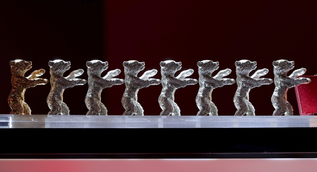 FILE - The Baeren (Bears) awards are lined up during the award ceremony for the 2020 Berlinale Film Festival in Berlin, Germany, on Feb. 29, 2020. Org...