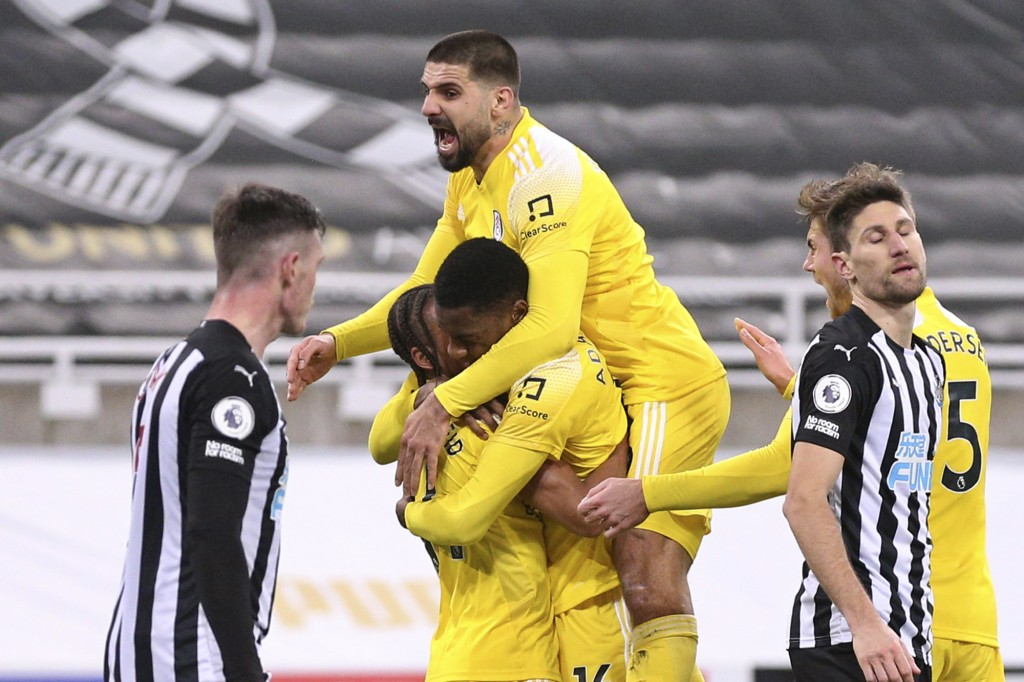 Fulham players celebrate after their side's opening goal scored by Newcastle's Matt Ritchie in his own net during an English Premier League soccer mat...