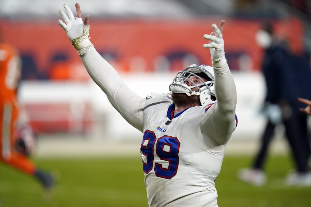 Buffalo Bills defensive tackle Harrison Phillips reacts after the Bills defeated the Denver Broncos in an NFL football game Saturday, Dec. 19, 2020, i...