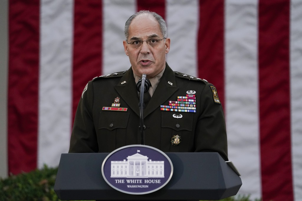 FILE - In this Nov. 13, 2020, file photo Army Gen. Gustave Perna, who is leading Operation Warp Speed,speaks during at an event in the Rose Garden of...