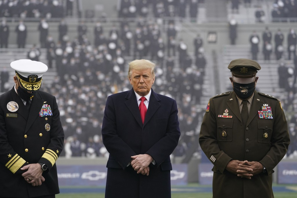 FILE - In this Dec. 12, 2020, file photo President Donald Trump stands on the field before the 121st Army-Navy Football Game in Michie Stadium at the ...