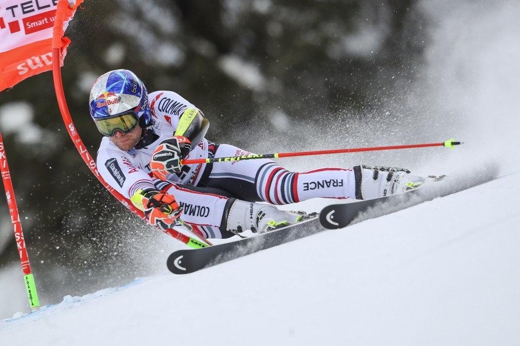 France's Alexis Pinturault speeds down the course during an alpine ski, men's World Cup giant slalom in Alta Badia, Italy, Sunday, Dec.20, 2020. (AP P...