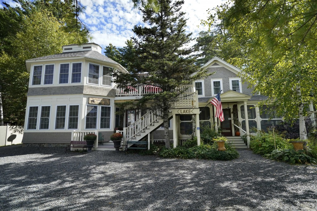 FILE— The Big Moose Inn is seen Friday, Sept. 18, 2020, near Millinocket, Maine. The inn was the setting for an Aug. 7 wedding reception that has sinc...