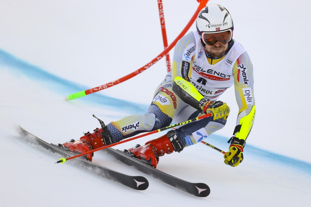 Norway's Aleksander Aamodt Kilde speeds down the course during an alpine ski, men's World Cup giant slalom in Alta Badia, Italy, Sunday, Dec.20, 2020....