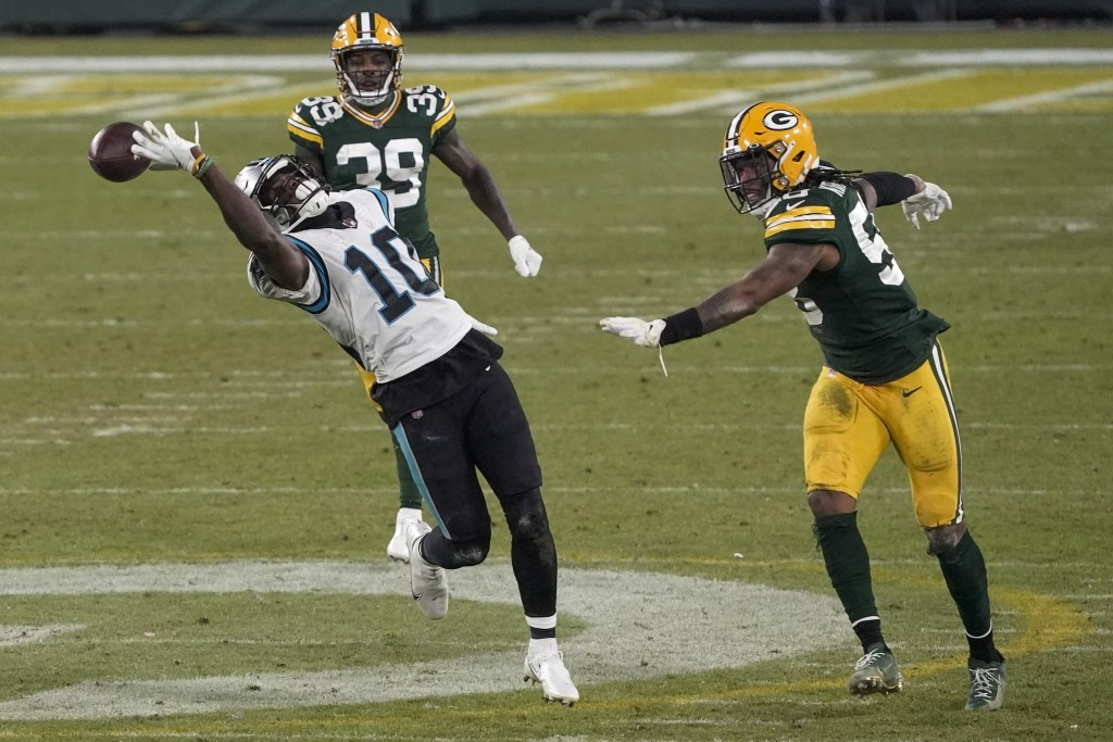 Carolina Panthers' Curtis Samuel can't catch a pass during the second half of an NFL football game against the Green Bay Packers Saturday, Dec. 19, 20...