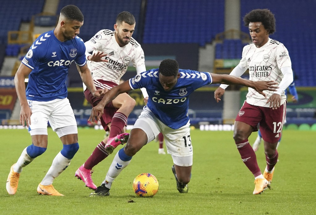 Everton's Yerry Mina controls the ball during the English Premier League soccer match between Everton and Arsenal at Goodison Park in Liverpool, Engla...
