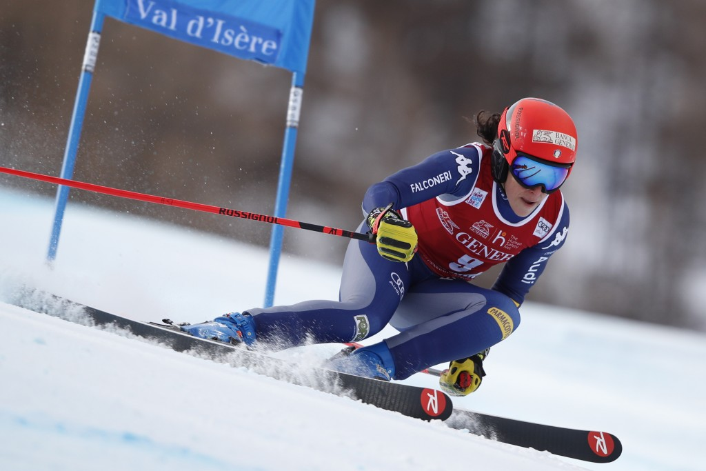 Italy's Federica Brignone speeds down the course during an alpine ski women's World Cup Super G in Val d'Isere, France, Sunday, Dec. 20, 2020. (AP Pho...