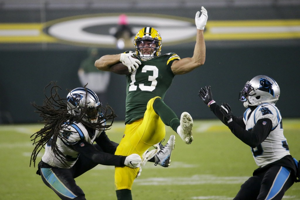 Green Bay Packers' Allen Lazard catches a pass during the second half of an NFL football game against the Carolina Panthers Saturday, Dec. 19, 2020, i...