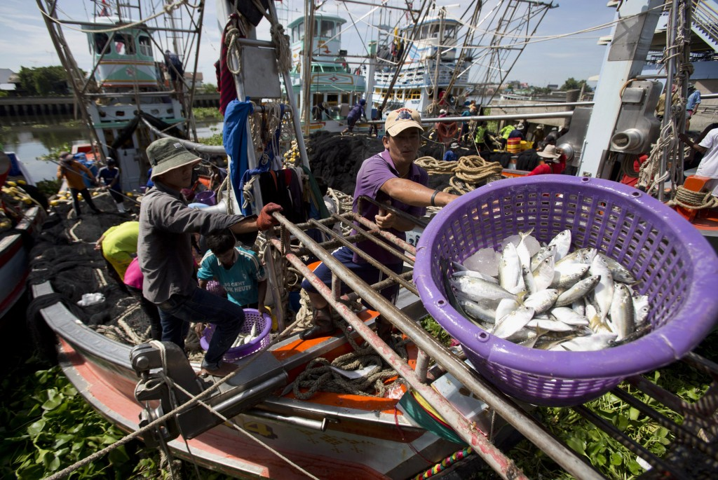 FILE - In this Sept. 3, 2013, file photo, fishermen unload fish following a fishing trip in the Gulf of Thailand in Samut Sakhon Province, west of Ban...