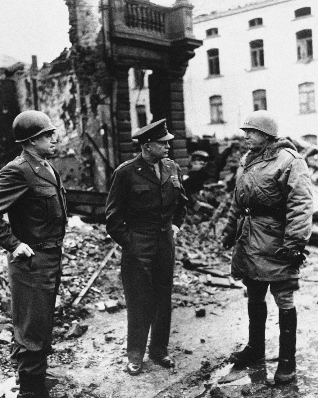 FILE - In this Feb. 5, 1945, file photo, from left, Lt. Gen. Omar Bradley, commander, U.S. Twelfth Army Group; Supreme Allied Commander Dwight D. Eise...