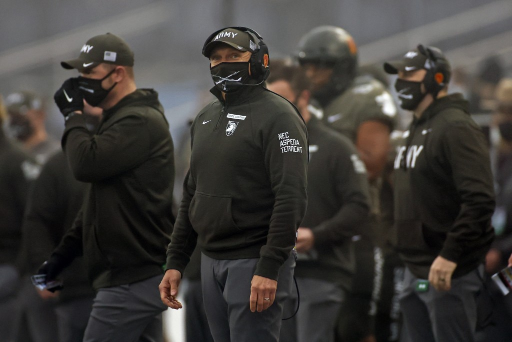 FILE - In this Saturday, Dec. 12, 2020, file photo, Army head coach Jeff Monken looks on against Navy during the first half of an NCAA college footbal...