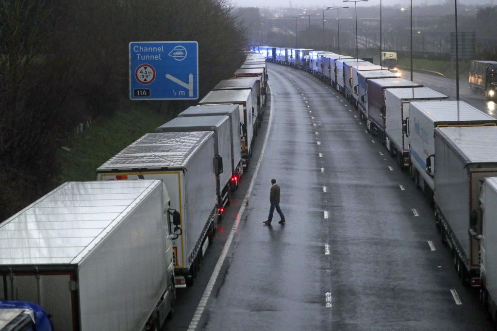 Lorries are parked on the M20 near Folkestone, Kent, England as part of Operation Stack after the Port of Dover was closed and access to the Eurotunne...
