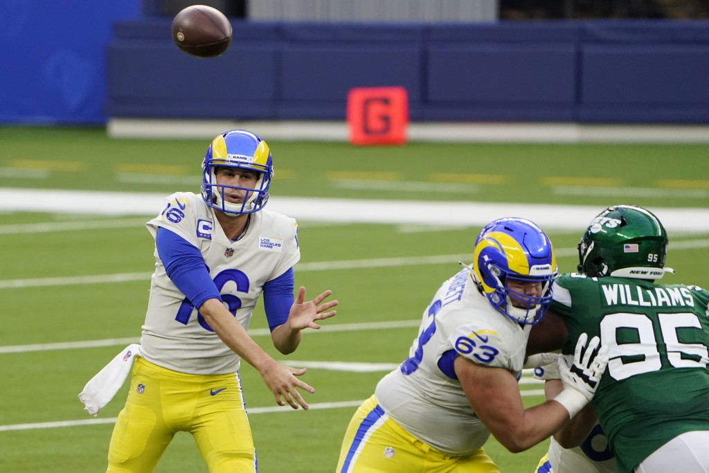 Los Angeles Rams quarterback Jared Goff throws against the New York Jets during the first half of an NFL football game Sunday, Dec. 20, 2020, in Ingle...