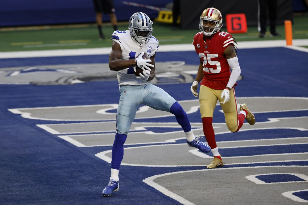 Dallas Cowboys wide receiver Michael Gallup (13) catches a touchdown pass in front of San Francisco 49ers cornerback Richard Sherman (25) in the first...