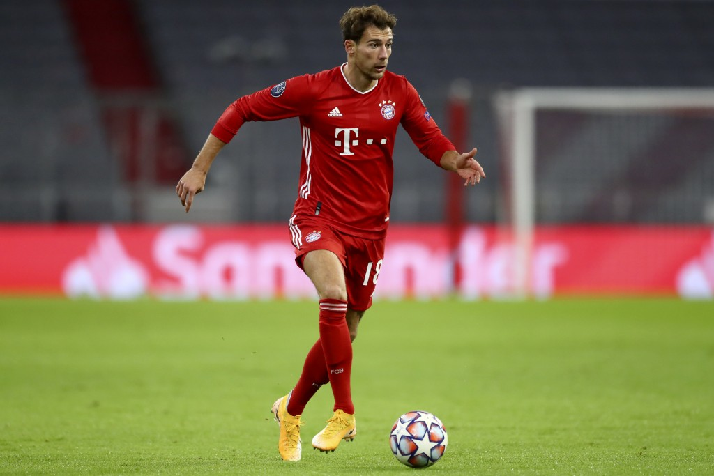 FILE - In this Oct. 21, 2020 file photo, Bayern's Leon Goretzka controls the ball during the Champions League Group A soccer match between Bayern Muni...