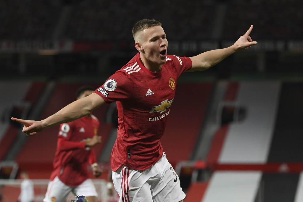 Manchester United's Scott McTominay celebrates his side's second goal during an English Premier League soccer match between Manchester United and Leed...