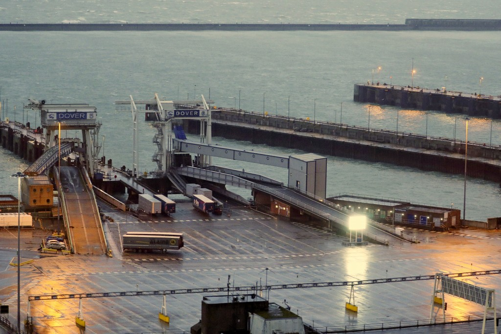 Ramps and lanes are empty at the Port of Dover in Kent, England which has been closed after the French government's announcement, Monday, Dec. 21, 202...