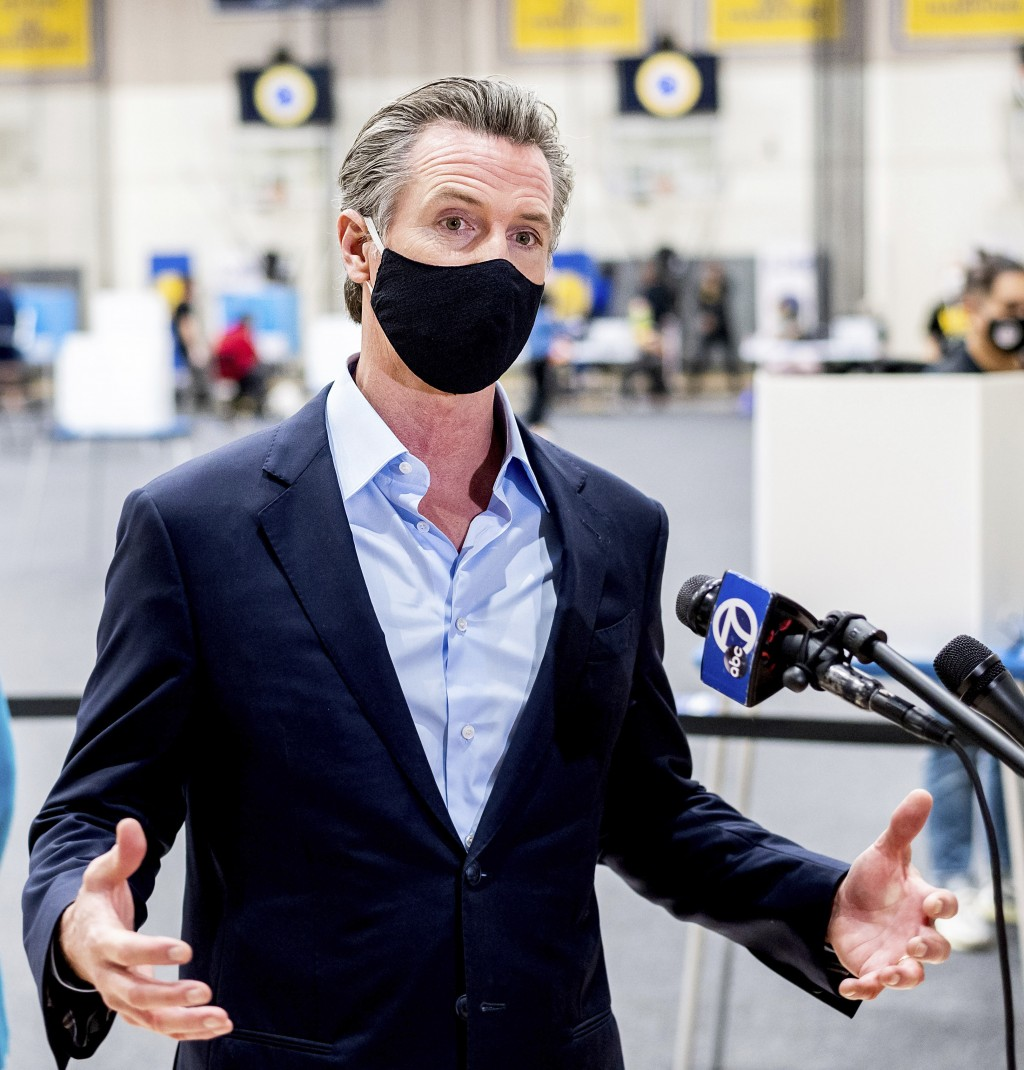FILE - In this Nov. 3, 2020 file photo Gov. Gavin Newsom talks during a news conference in Oakland, Calif. A number of American political leaders have...