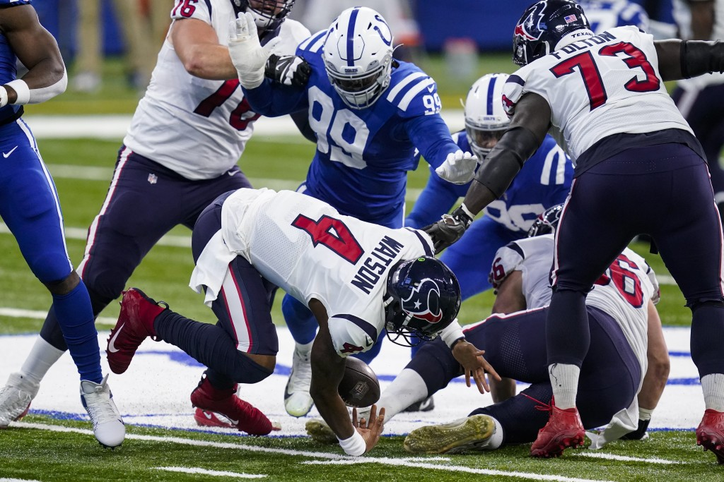 Houston Texans quarterback Deshaun Watson (4) fumbles the ball in the first half of an NFL football game against the Indianapolis Colts in Indianapoli...