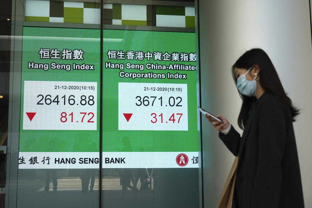 A woman wearing a face mask walks past a bank's electronic board showing the Hong Kong share index in Hong Kong, Monday, Dec. 21, 2020. Shares have st...