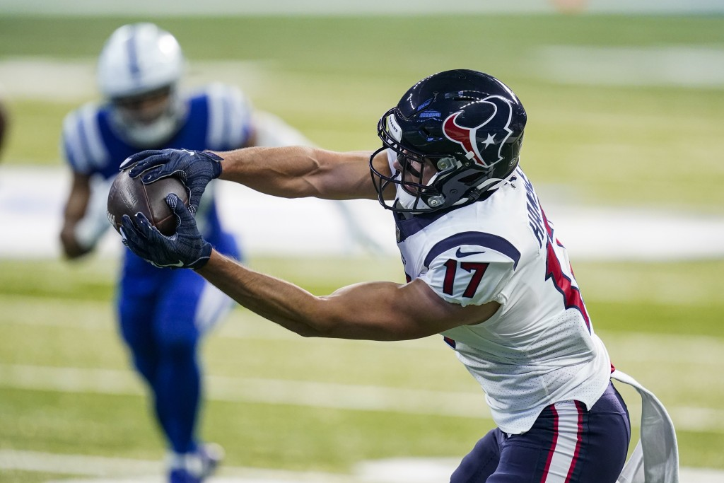 Houston Texans wide receiver Timothy Hansen makes a catch for a touchdown against the Indianapolis Colts in the first half of an NFL football game in ...