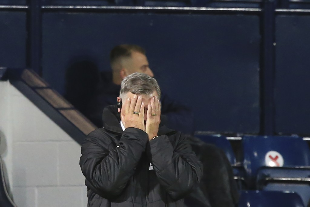 West Bromwich Albion's manager Sam Allardyce reacts during the English Premier League soccer match between West Bromwich Albion and Aston Villa at the...