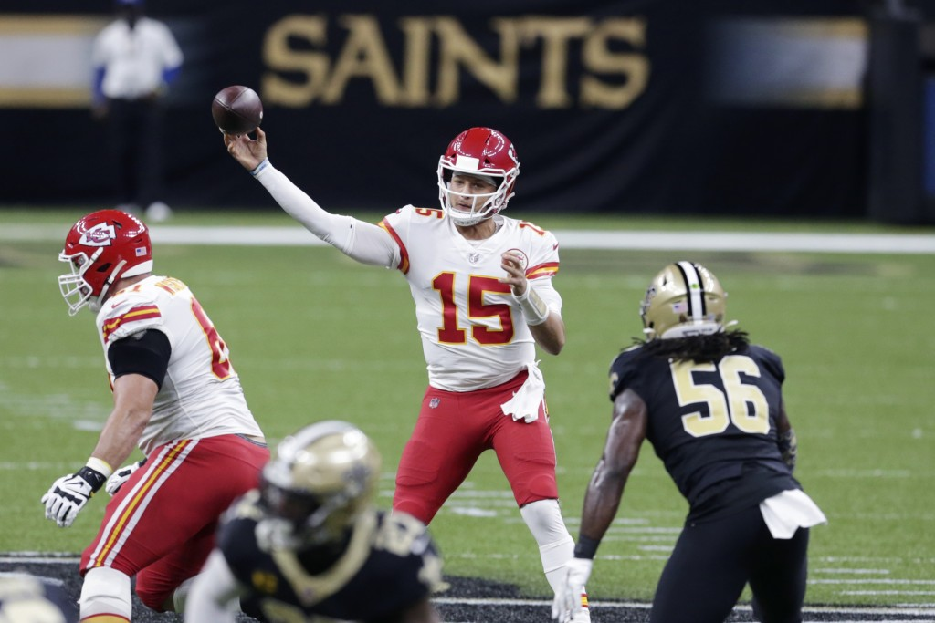 Kansas City Chiefs quarterback Patrick Mahomes (15) passes in the first half of an NFL football game against the New Orleans Saints in New Orleans, Su...