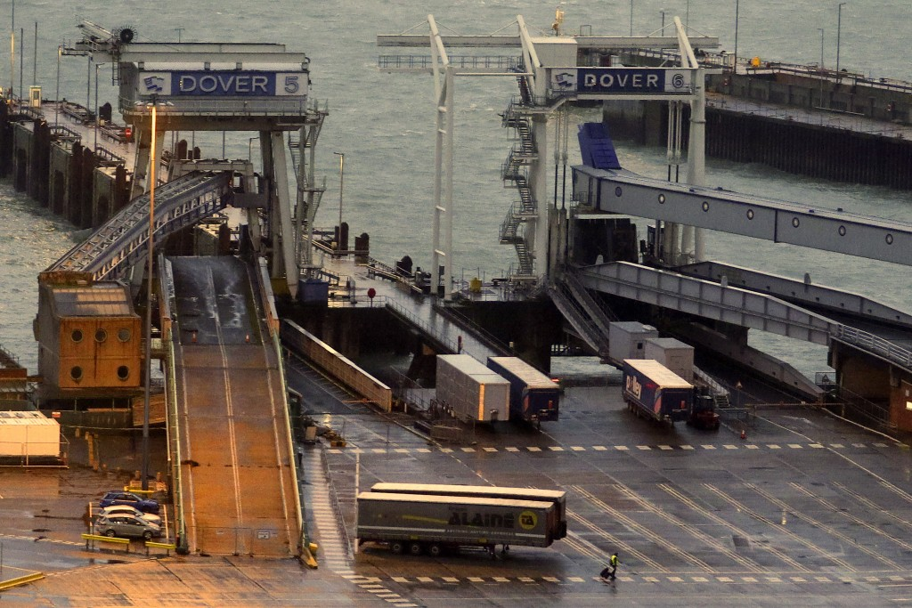Ramps and lanes are empty at the Port of Dover in Kent, England which has been closed after the French government's announcement Monday, Dec. 21, 2020...