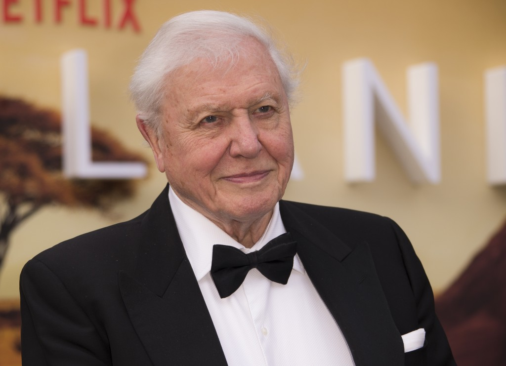 FILE - In this Thursday, April 4, 2019 file photo, Sir David Attenborough poses for photographers upon his arrival for the premiere of a new series of...