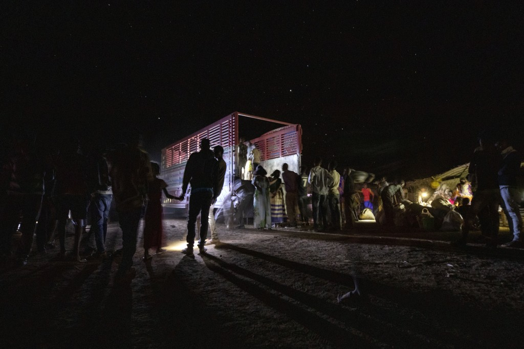 Tigrayan refugees who fled Ethiopia's conflict arrive from Village 8, the transit center near the Lugdi border crossing, at Umm Rakouba refugee camp i...