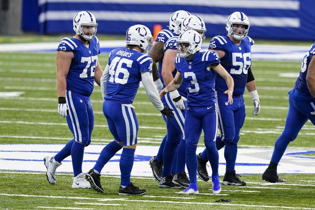 Indianapolis Colts kicker Rodrigo Blankenship (3) celebrates a 53-yard field goal with long snapper Luke Rhodes (46) in the second half of an NFL foot...