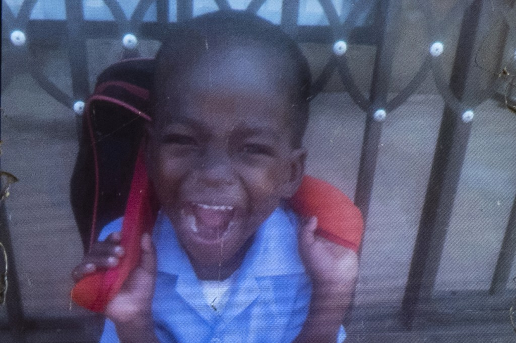 This photo of Wandi Zitho is seen on the mobile phone of his mother, Amanda Zitho, on April 30, 2020, two days after his funeral. The 5-year-old was f...