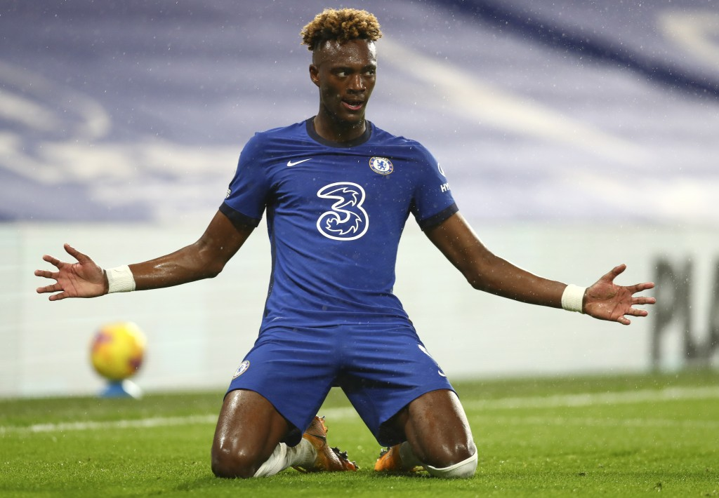 Chelsea's Tammy Abraham celebrates after scoring his team's second goal during the English Premier League soccer match between Chelsea and West Ham at...