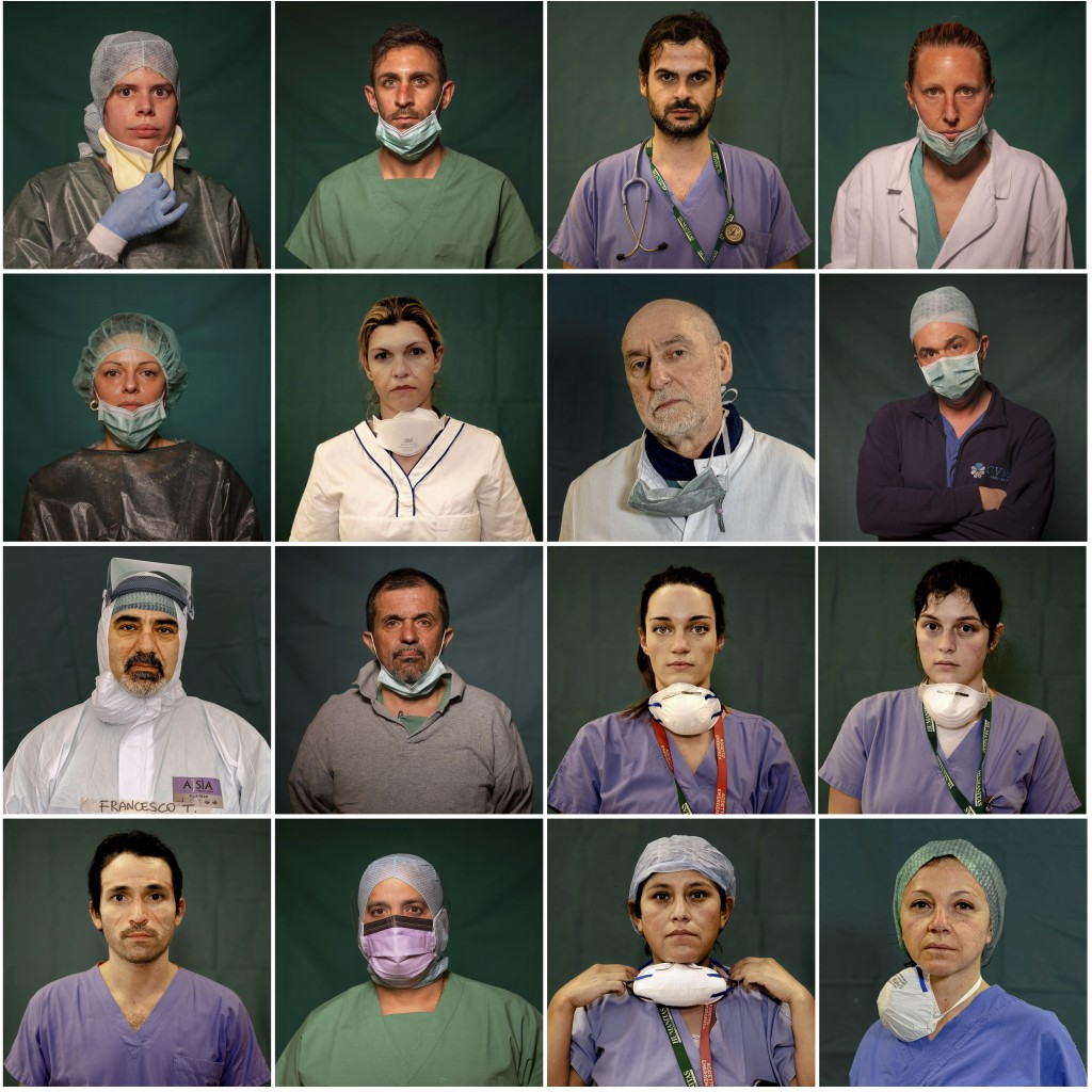 A combo of portraits of Italian doctors and nurses taken during a break or at the end of their shifts in Rome, Bergamo and Brescia, Italy, Friday, Mar...