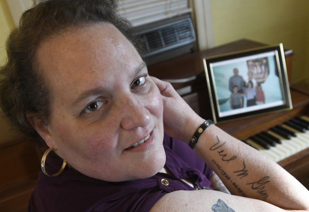 Christina Grim displays a memorial tattoo to her mother, Verl Grim, on Saturday, Dec. 19, 2020, at her home in Littlestown, Pa. Grim contends that an ...