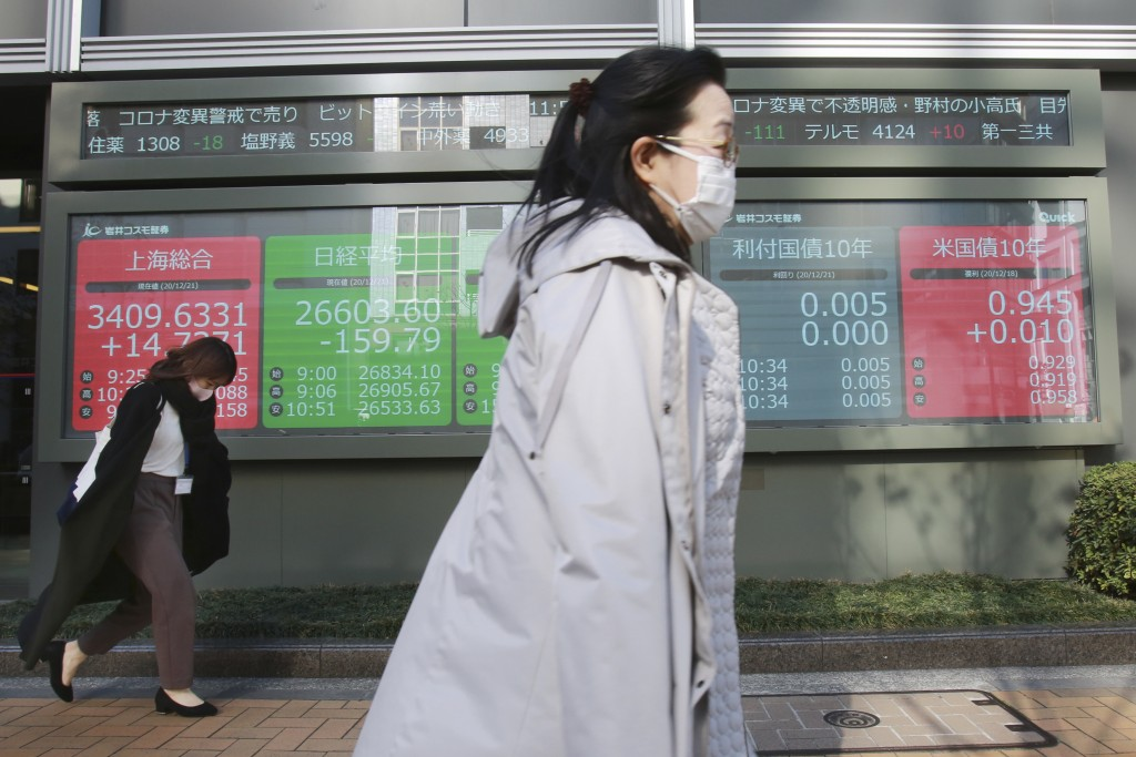 People walk by an electronic stock board of a securities firm in Tokyo, Monday, Dec. 21, 2020.  Asian shares retreated on Tuesday, Dec. 22, extending ...
