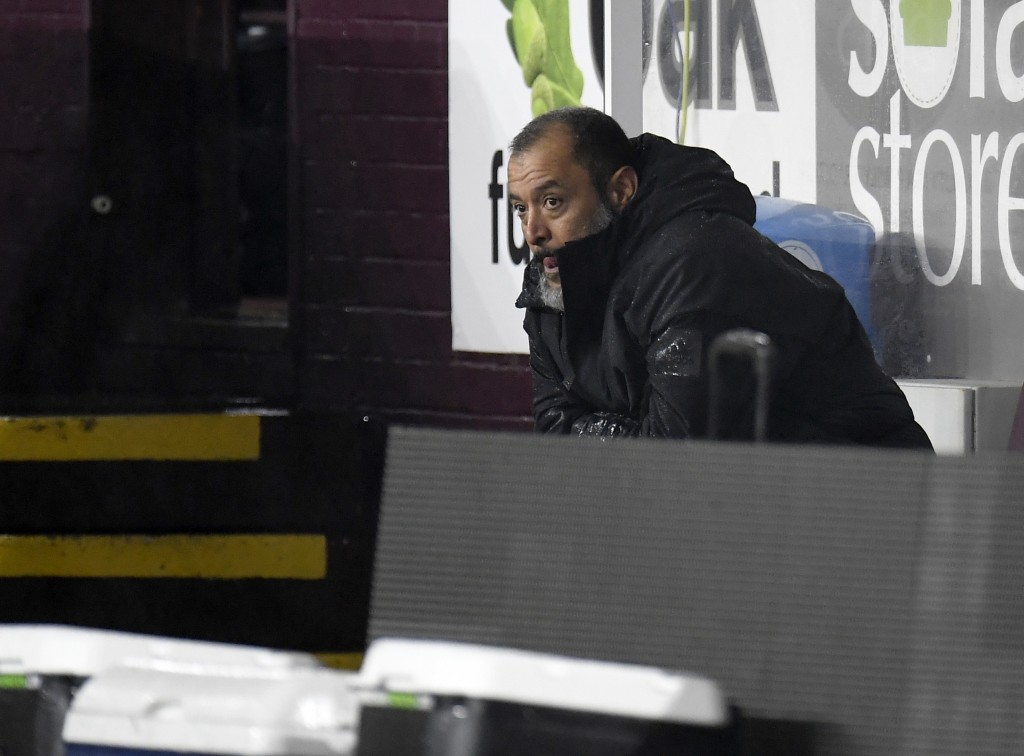 Wolverhampton Wanderers' head coach Nuno Espirito Santo looks out from the bench during the English Premier League soccer match between Burnley and Wo...
