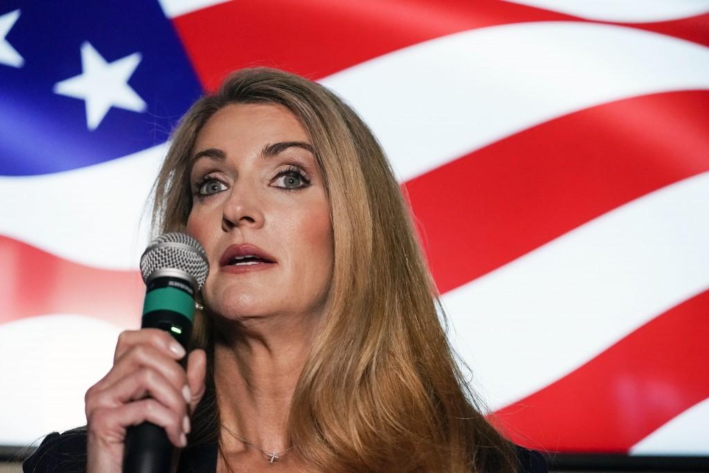 FILE - In this Nov. 13, 2020, file photo Republican candidate for U.S. Senate Sen. Kelly Loeffler speaks at a campaign rally in Cumming, Ga. Loeffler'...