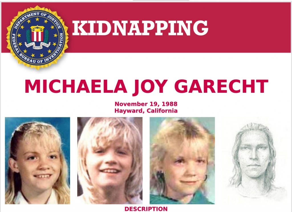 This 1988 poster provided by the FBI shows a wanted poster of photos of kidnapped Michaela Joy Garecht in 1988. On Monday, Dec. 21, 2020, Northern Cal...