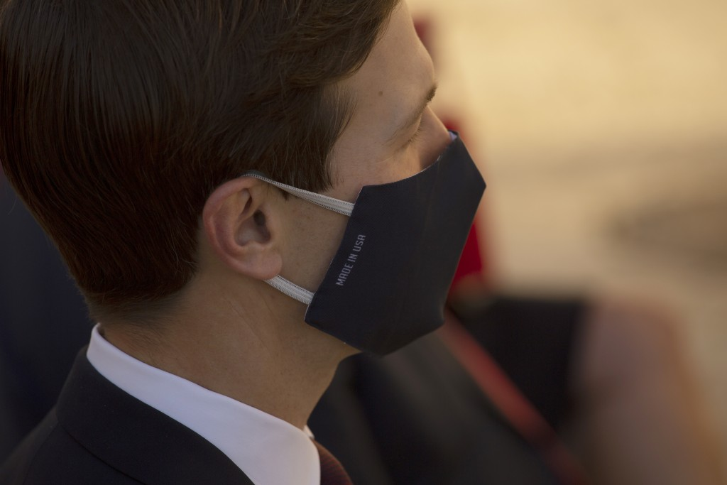 U.S. White House Senior Adviser Jared Kushner wears a cloth mask at the U.S. embassy during an event where U.S. Ambassador to Israel David Friedman, u...
